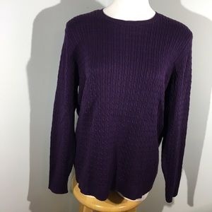 NWT Land's End Cable Knit Purple Sweater